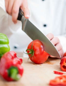 chopping tomato