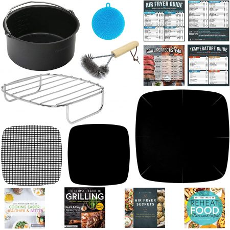 Large Air Fryer Oven Safe Baking Grilling Accessories Compatible with Phillips Avance XXL, GoWise, Power AirFryer, NuWave Brio, Cozyna, Chefman, Secura, Harbor, Emerald +More by Infraovens