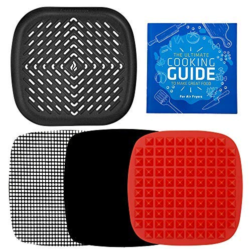 AirFryer  Accessories Grill Pan with Silicone Baking Mats Compatible with Chefman 2.5L 2.6QT, Cozyna 3.7QT, Della 2.8QT, Bella 2.5L, Comfee, Nattork +More Square Fryers by Infraovens | Small - Medium