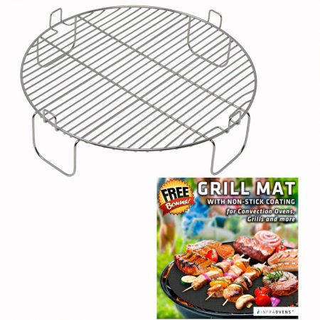 3 inch Grill Rack Made with High Quality Stainless Steel for NuWave Oven PRO PLUS and ELITE Models and Reversible 1 inch Grate AirFryer Accessories for Cooking, Grilling by INFRAOVENS