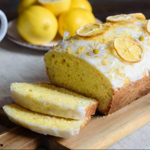 lemon loaf cake, classic recipe, decorated with sugar icing